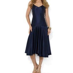 NWT Ralph Lauren silk drop waist evening gown.
